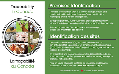 Postcard - Traceability in Canada - Premises Identification